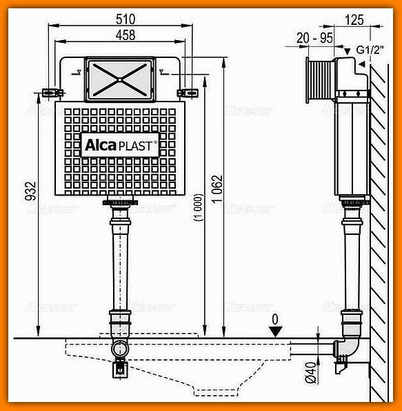 spłuczka A112 ALCAPLAST do zabudowy ciężkiej