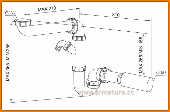 Syfon zlewozmywakowy małogabarytowy A21050 RAWIPLAST WINKIEL