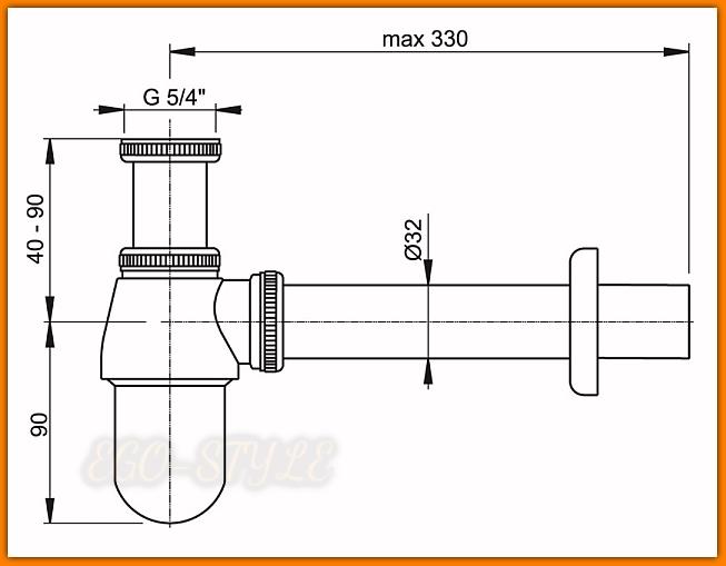 Pół-syfon umywalkowy/bidetowy A431 AlcaPLAST metalowy chrom
