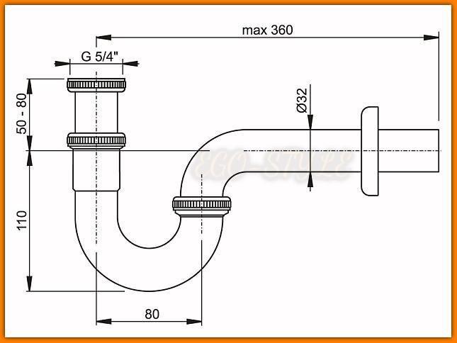 Pół-syfon umywalkowy/bidetowy A432 AlcaPLAST metalowy chrom rurowy