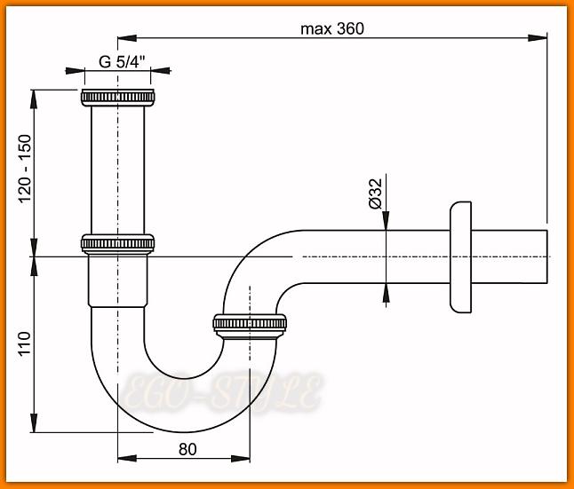 Pół-syfon umywalkowy A4320 AlcaPLAST metalowy chrom rurowy