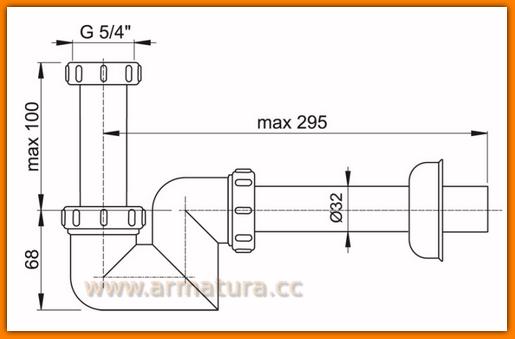 Pół-syfon bidetowy/umywalkowy A45F Ø32 AlcaPLAST do bidetu