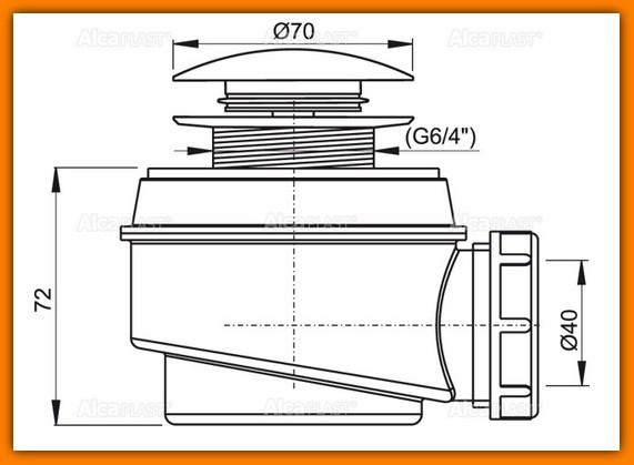 ALCAPLAST A465 syfon brodzikowy klik-klak Ø50 mm