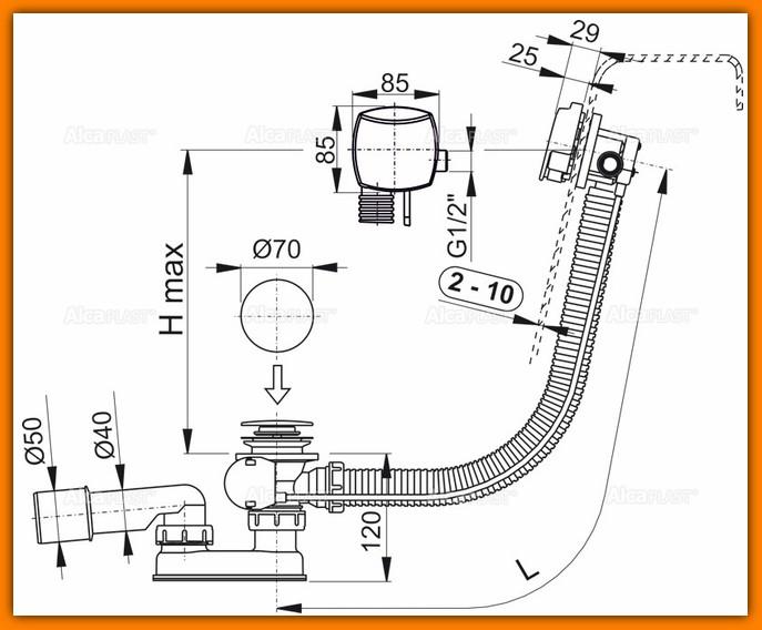 ALCAPLST A564CRM1 120 syfon wannowy z napełnianiem przelewem