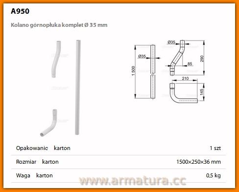 AlcaPLAST A950 Kolano górnopłuka komplet Ø 35 mm