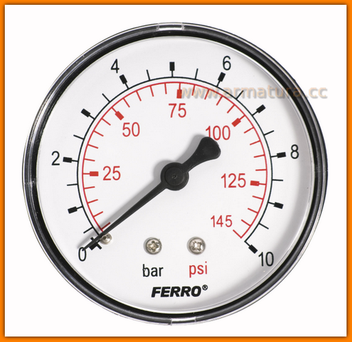 "Manometr 63mm 1/4"" axialny 0-10 bar M6310A FERRO"