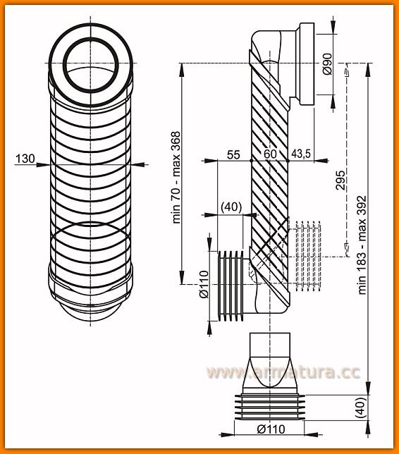 AlcaPLAST MS906 Kolano odpływu komplet 90/110 spłuczki SLIM