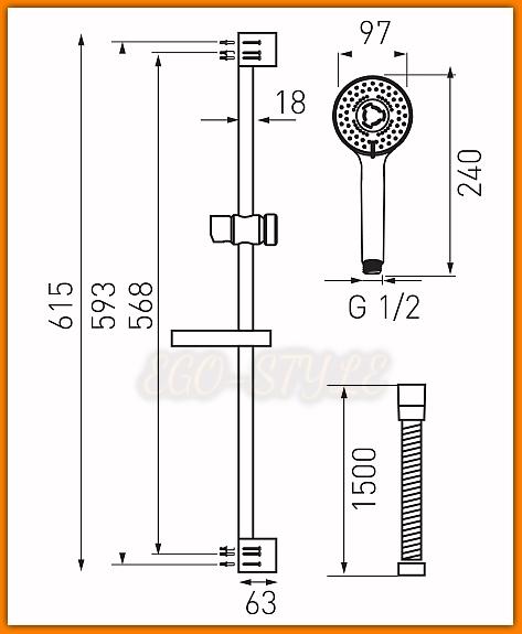 Natrysk przesuwny TUTTI N340 FERRO 3-funkcyjny