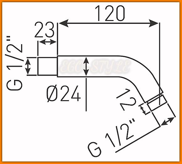 Ramię natrysku RN12 FERRO do głowic natryskowych L-120 mm