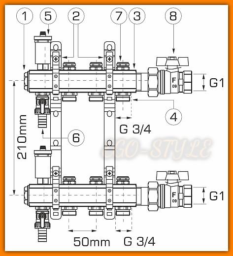 rozdzielacz RO12 WEBERMAN FERRO do instalacji co 11-drogowy