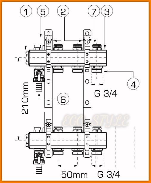 Rozdzielacz mosiężny RO12S WEBERMAN Standard do centralnego ogrzewania 11-drogowy Ferro