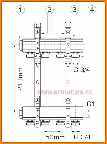 rozdzielacz RPN02 WEBERMAN FERRO do instalacji mieszanych 2-drogowy