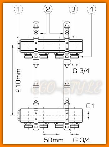rozdzielacz RPN06 WEBERMAN FERRO do instalacji co 6-drogowy