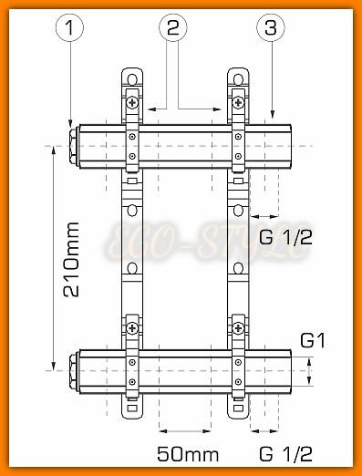 rozdzielacz RP08 WEBERMAN FERRO do instalacji mieszanych 8-drogowy
