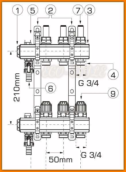 Rozdzielacz mosiężny RZP09S WEBERMAN do ogrzewania podłogowego z zaworami term. Ferro