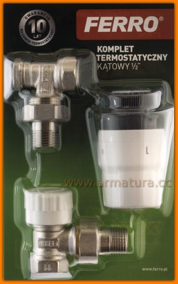 Zestaw termostatyczny ZTM06 FERRO grzejnikowy kątowy 1/2