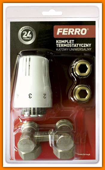 komplet termostatyczny zestaw grzejnikowy kątowy ZTV02 FERRO