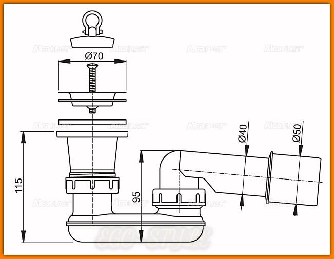 Syfon brodzikowy A461 Ø50 mm ALCAPLAST z sitkiem nierdzewnym i korkiem PCV