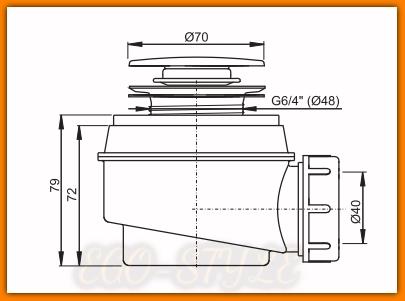 Syfon brodzikowy A466 ?50 mm KLIK-KLAK ALCAPLAST click/clack