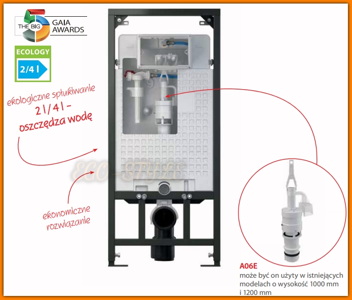 Spłuczka podtynkowa A101/1200E Ecology ALCAPLAST stelaż do zabudowy suchej Sadromodul