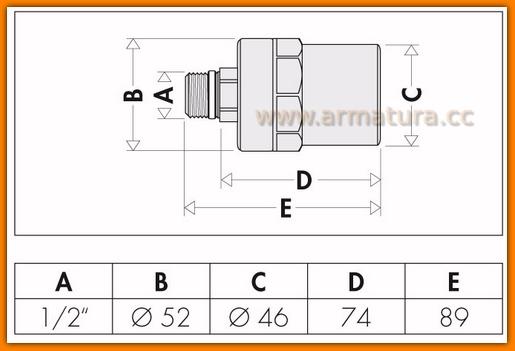 Tłumik uderzeń hydraulicznych 525040 CALEFFI - ANTISHOCK