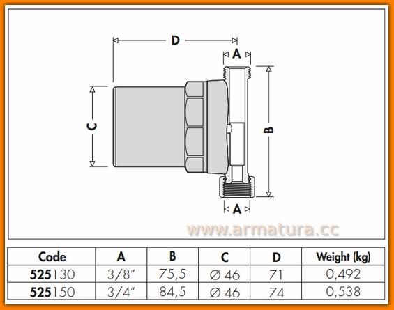 Tłumik uderzeń hydraulicznych 525130 CALEFFI - ANTISHOCK