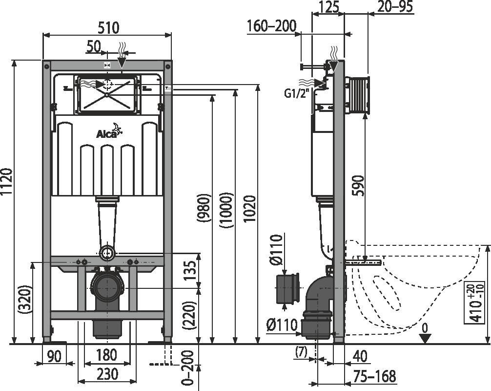 spłuczka Am101/1120 ALCAPLAST podtynkowa stelaż do zabudowy lekkiej