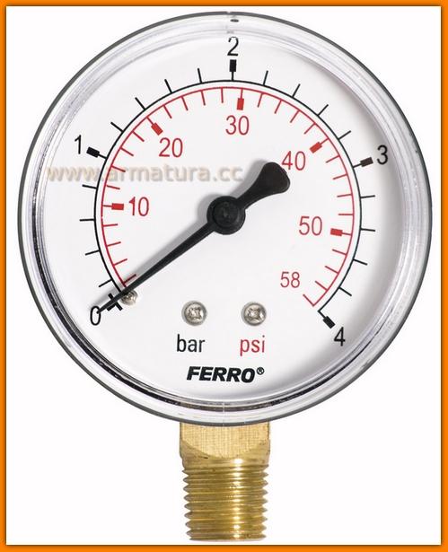 """Manometr 63mm 1/4"""" boczny 0-4 bar M6304R FERRO radialny"""