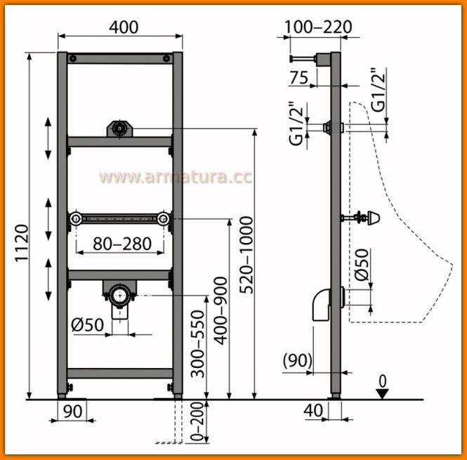 Stelaż pisuarowy podtynkowy A107/1120 AlcaPLAST rama montażowa do pisuaru