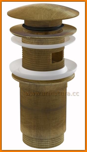 Spust do umywalki KLIK-KLAK A392ANTIC AlcaPLAST korek umywalkowy antyczny bronze