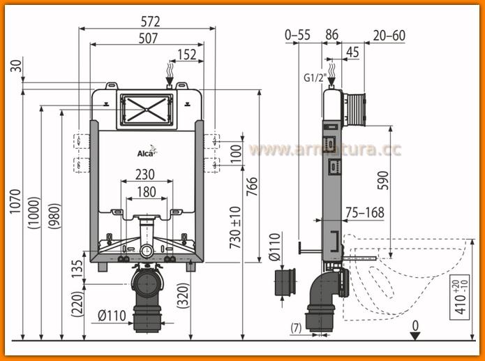 Stelaż podtynkowy WC SLIM AM1115/1000 AlcaPLAST spłuczka do zabudowy ciężkiej A1115B/1000