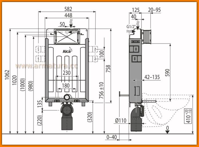 Spłuczka AM115/1000 do zabudowy ciężkiej ALCAPLAST A115/1000