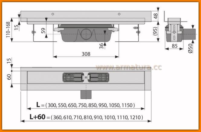 Odpływ liniowy APZ16-750 wall AlcaPLAST 75 cm Flexible odwodnienie liniowe z wygiętym kołnierzem