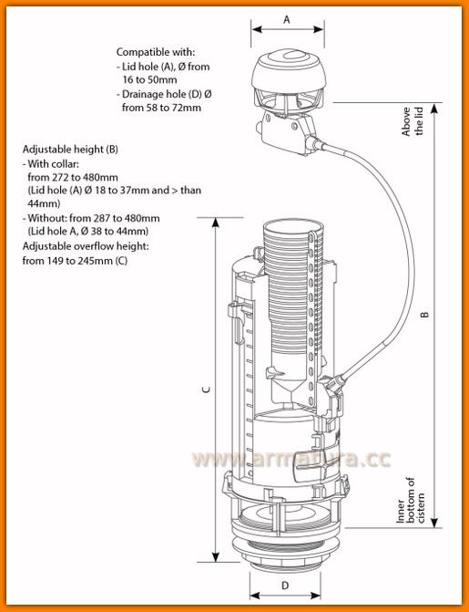 Zawór CERSANIT koło siamp spustowy spłuczki optima50