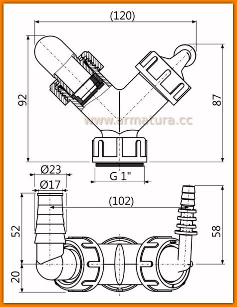 Podwójne kolano pralki zmywarki z zaworem zwrotnym AlcaPLAST P149Z