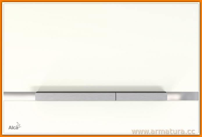 FLAT STRIPE-GL1200 GLASS White AlcaPLAST biały przycisk wc